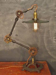 Vintage Industrial Desk Lamp - Machine Age Task Light - Cast Iron - #Lighting #Light #Industrial