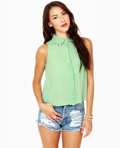 Mint green sheer button up top! With gold corners!!! Love this!