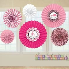safari girl babyshower | Sweet Safari Girl Paper Hanging Fan Decorations (6ct)