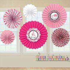 safari girl babyshower | Sweet Safari Girl Paper Hanging Fan Decorations (6ct)