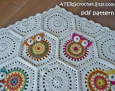 Crochet pattern owl granny square baby blanket by by ATERGcrochet