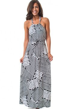 High collar square neck geometric print maxi halter dress featuring elastic waist and back neck tie. Love this print? Well it's back for more! $11.95
