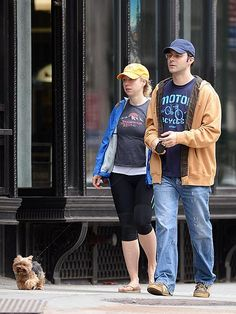 """PET PROJECT - It's a furbaby! The couple preps for family life with their first """"child,"""" their adorable pint-size pup, on a weekend stroll in N.Y.C. in October 2012."""