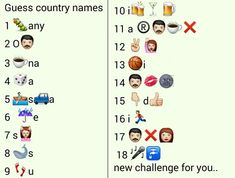 Whatsapp Puzzles: Guess 18 Country Names From Emoticons and Smileys Guess The Emoji Answers, Quiz With Answers, Whatsapp Smiley, Funny Games For Groups, Dare Messages, Emoji Names, Emoji Quiz, Country Names, Smileys
