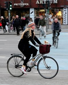 dog popping his head out of basket on bike in Copenhagen. Photographer: Mikael Colville-Andersen