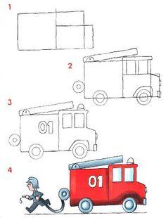 Cómo dibujar un carro de bomberos