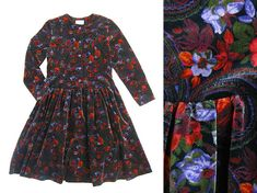 80s Velvet Autumn Floral Paisley Long Sleeve Knee Length
