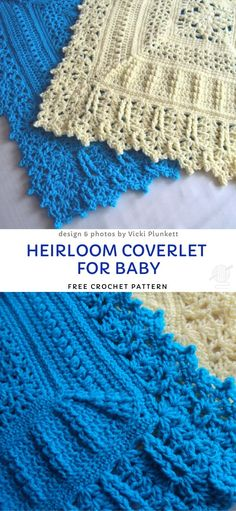 Baby Blankets with Cute Crochet Edgings Heirloom Coverlet For Baby Free Crochet Pattern Crochet Baby Blanket Borders, Crochet Baby Shawl, Free Baby Blanket Patterns, Crochet Lace Edging, Crochet Blanket Patterns, Cute Crochet, Crochet Edgings, Booties Crochet, Crochet Borders