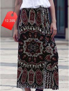 Chic Women's Ethnic Print High Waist Skirt