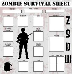 Zombie Survival Sheet