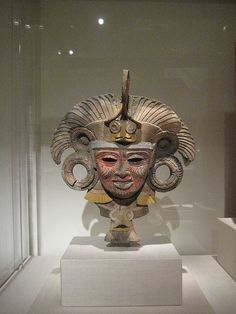 Mask from an Incense Burner Portraying the Old Deity of Fire    Teotihuacan, Mexico  AD 450 - 750  Aztec  Ceramic and pigment