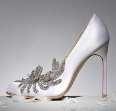 Manolo Blahnik Swan Embellished Satin Pump (white), $1,295.00        Recognize these?!?!?  They are the same style that Bella Swan wears for her wedding to Edward Cullen!!  How perfect!!      #Twilight