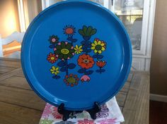 Pretty Blue Retro Serving Tray