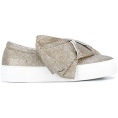 Joshua Sanders Exclusive Christmas slip-on sneakers (€350) ❤ liked on Polyvore featuring shoes, sneakers, grey, grey shoes, metallic sneakers, slip-on sneakers, grey sneakers and leather trainers