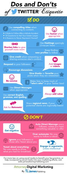"SOCIAL MEDIA - ""Dos and Don'ts of Twitter etiquette #infografia #infographic #socialmedia"". http://twit-follow.com"