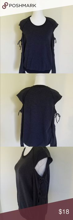 Project Social T Cold Shoulder Sweatshirt Project Social T Sweatshirt. Cold shoulder style with sleeve ties detail. Dark Gray and super soft.  48% Cotton, 48% Polyester & 4% Spandex. Brand New and fits true to size. Project Social T Tops Sweatshirts & Hoodies