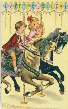 Happy Birthday vintage card. Free printable. Carousel. by reinap, via Flickr