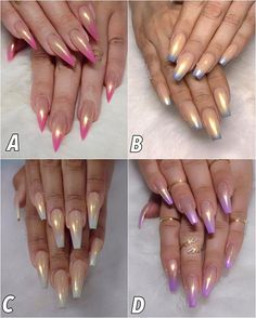 Another Popular look this week😀 Pearl Ombre's 💜💙💚💗 y'all know I have to ask .Which one is your fave? Fabulous Nails, Gorgeous Nails, Pretty Nails, Get Nails, Hair And Nails, Acrylic Nail Designs, Nail Art Designs, Crome Nails, Creative Nails