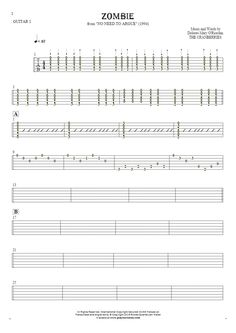 Zombie sheet music by The Cranberries. From album No Need to Argue (1994). Part: Tablature for guitar - guitar 1 part.