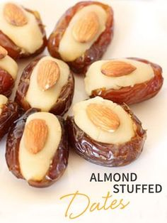 Whip up a batch of these Almond Stuffed Dates for a satisfying treat! Learn how to make them with the help of this easy recipe! Ramadan Recipes, Sweets Recipes, Candy Recipes, Healthy Desserts, Appetizer Recipes, Snack Recipes, Yummy Snacks, Appetizers, Date Recipes