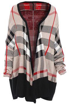 Multicolor Plaid Knit Cardigan Sweater @ ROMWE $35