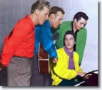 """The Million Dollar Quartet: Elvis Presley, Jerry Lee Lewis, Carl Perkins and Johnny Cash. """"Million Dollar Quartet"""" is the name given to recordings made on Tuesday December 4, 1956 in the Sun Record Studios in Memphis, Tennessee."""