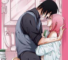 fan art, kiss, and sasuke uchiha image