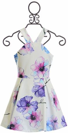 Elisa B White Dress with Purple Flowers Big Girl Clothes, Toddler Girl Dresses, Girls Dresses, Summer Dresses, School Dance Dresses, Girls Special Occasion Dresses, Tween Girls, Boutique Clothing, Pretty Dresses