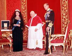 Queen Elizabeth II and her husband Prince Philip, Duke of Edinburgh pictured with Pope John XXIII in the Vatican City, Rome