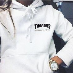 """Thrasher""Quality hooded sweater flame slide hip sweater Letters on the side White from Summer11."