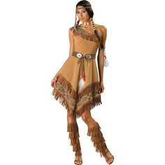 Indian Maiden Adult Costume ($85) ❤ liked on Polyvore featuring costumes, halloween costumes, sexy cowgirl costume, cowboy costume, sexy adult costumes, adult pocahontas costume and party halloween costumes