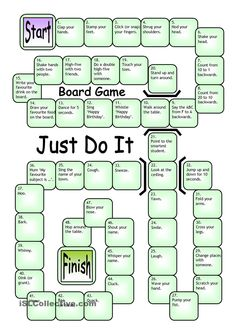 Board Game - Just Do It - English ESL Worksheets for distance learning and physical classrooms English Games, English Activities, English Lessons, Learn English, Printable Board Games, Free Printable, Printable Worksheets, Board Games For Kids, Kids Board