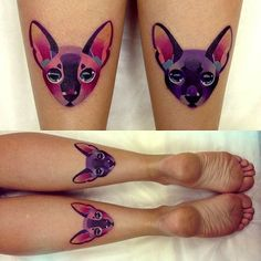 Source doesn't work. Beautiful calf tattoos of sphinxes. Love the color and size. Similar to my sister's design.