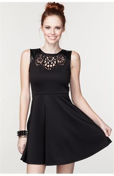 LASER CUT FIT & FLARE DRESS