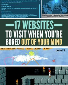 17 Websites To Visit When You're Bored Out Of Your Mind DIY cure boredom! 17 websites to visit when you're bored Crafts To Do When Your Bored, Things To Do When Bored, When Im Bored, Things To Know, Fun Things, Bored Websites, Cool Websites, Secret Websites, Hacking Websites