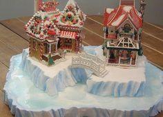 Custom miniature Christmas village display platform. $100.00, via Etsy.