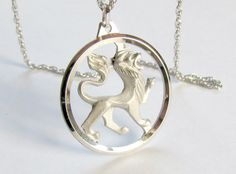 Lion Pendant Sterling Silver Rope Chain Necklace signed Germany by vintagepaige on Etsy