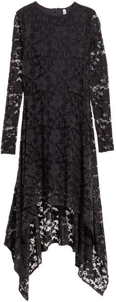 H&M Long Lace Dress - Black - Ladies on shopstyle.com