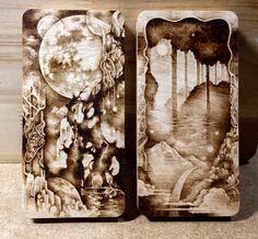 Snowdeer (Kim Sulrok): ~moon garden~ maple pyrography, woodburning