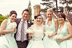 A make do and mend inspired wedding - pretty bridesmaids, and a wedding dress with sleeves