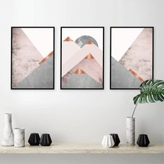 Set of 3 Mountains Posters and Prints Blush Pink Grey Wall Art Abstract Canvas Painting Scandinavian Modern Poster Wall Decor Gold Wall, Silver Wall Decor, Silver Walls, Wall Art Decor, Copper Wall Art, Pink Walls, Scandinavian Modern, Blush Living Room, Blush Grey Copper Living Rooms