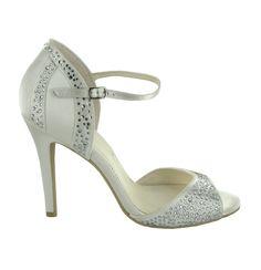 Zapato De Novia En Satín Con Pedrería De Menbur (ref. 6283) Satin Bridal