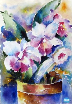 watercolor flower images | Potted Flowers [5260234] - $600.00 : Watercolor Paintings | Watercolor ...