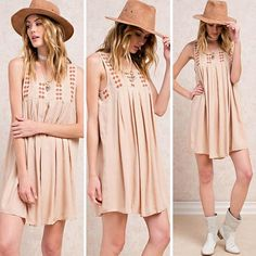"""""""Embroidered Baby Doll Pleated Dress"""" - $38 @classicpaperdoll #cpdfave #summerdress #ootd #onlineshopping #musthaves #인스타데일리 #여름스타일"""