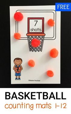 These FREE printable basketball shots counting mats (1-12) are perfect to practice counting, number recognition, one to one correspondence for toddlers and preschoolers!
