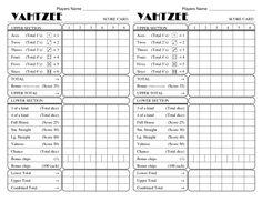 yatzee printable score sheets | yahtzee score card