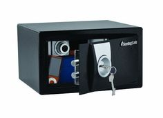 """Sentry Safe X031 Small Security Safe by SentrySafe. $81.52. Cubic Feet 0.35. Outside Dimensions (H x W x D) 6.56"""" x 11.44"""" x 10.38"""". Inside Dimensions (H x W x D) 6.44"""" x 11.25"""" x 8.38"""". Weight 17lbs.. Features: 6 lever key lock 2 live-locking bolts Carpeted floor Bolt-down hardware included Color: Black"""