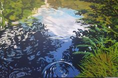'Bron' 100 cm X 120 cm. Acryl op doek #artwork #art #painting #water #schilderij