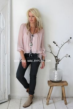 RAIN Silk blouse, Light pink - BOHEMIANA - BYPIAS