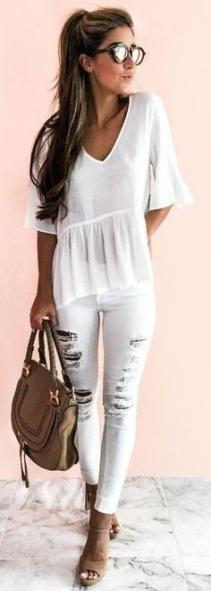 #summer #warm #weather #outfits |  All White + Pop Of Camel